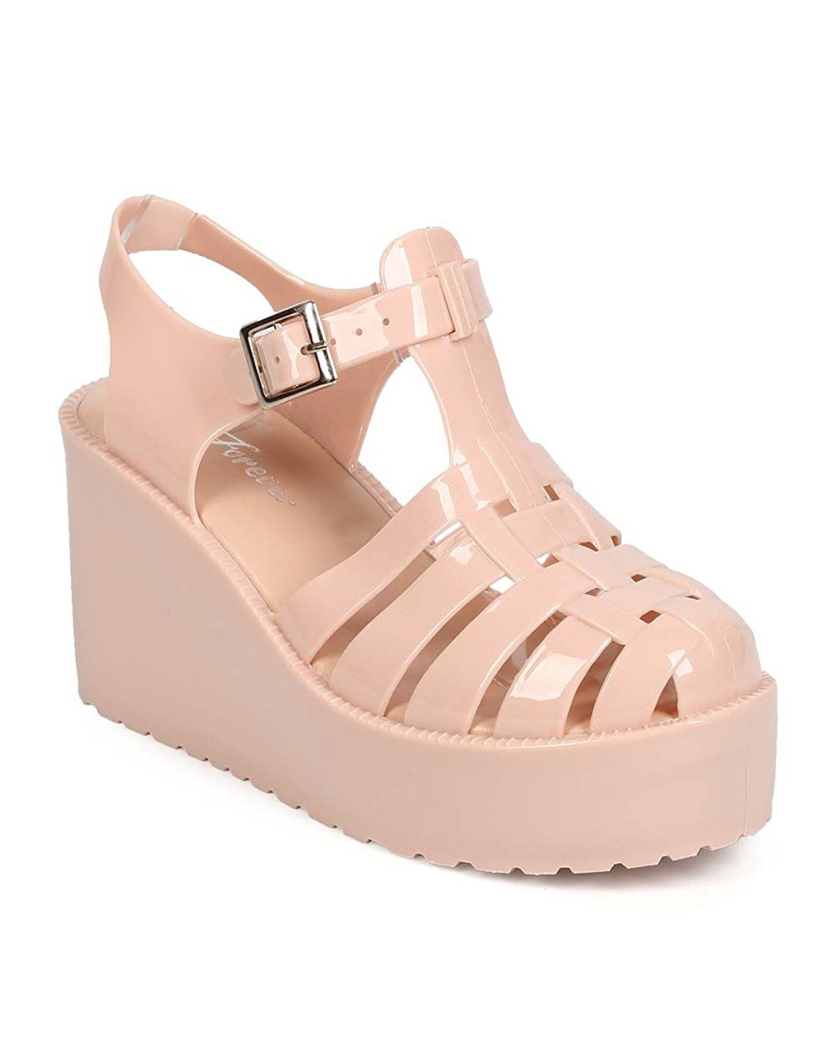 0c289af3ad561 Forever EA80 Women Jelly Round Toe Platform Fisherman Wedge Sandal     Don t  get left behind