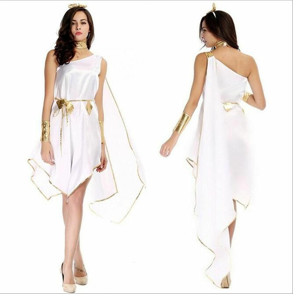 Greek Goddess Costume Adult Toga Roman Halloween Fancy Dress #togacostume