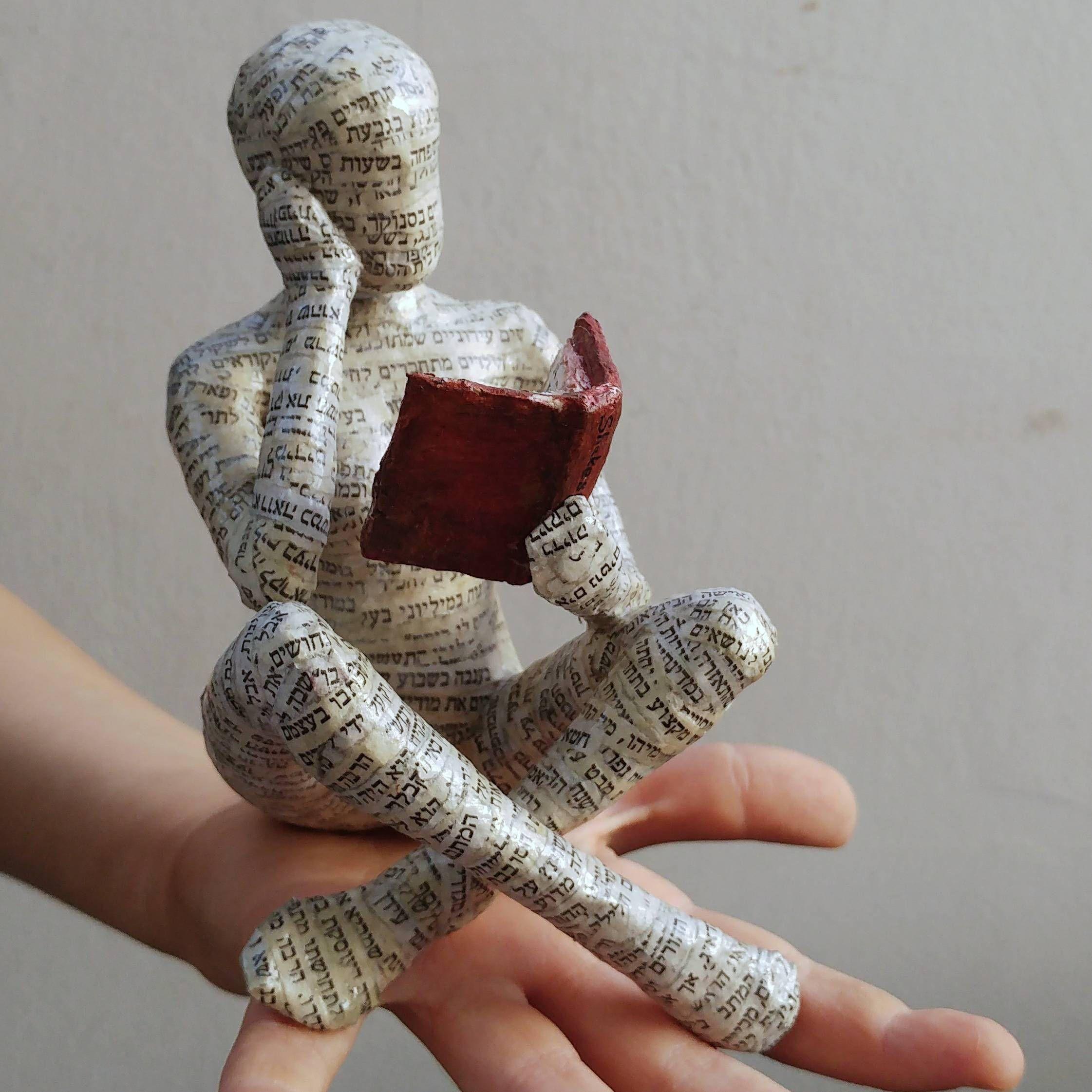 reading woman papier mache sculpture collectible item ooak sculpture shelf decor cross. Black Bedroom Furniture Sets. Home Design Ideas
