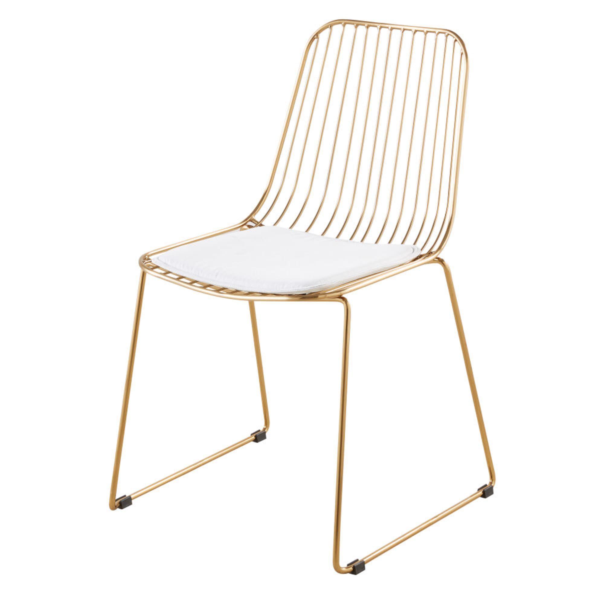 Chaise En Metal Dore Et Coton Blanc Maisons Du Monde En 2020 Chaise Metal Chaise Maison Du Monde Coton Blanc