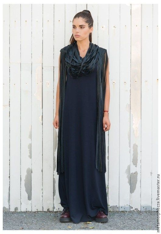 3fb23840c3b Платья ручной работы. Ярмарка Мастеров - ручная работа. Купить ДЛИННОЕ  ПЛАТЬЕ С КОЖАННЫМИ ЛЕНТАМИ. Handmade. Тёмно-синий