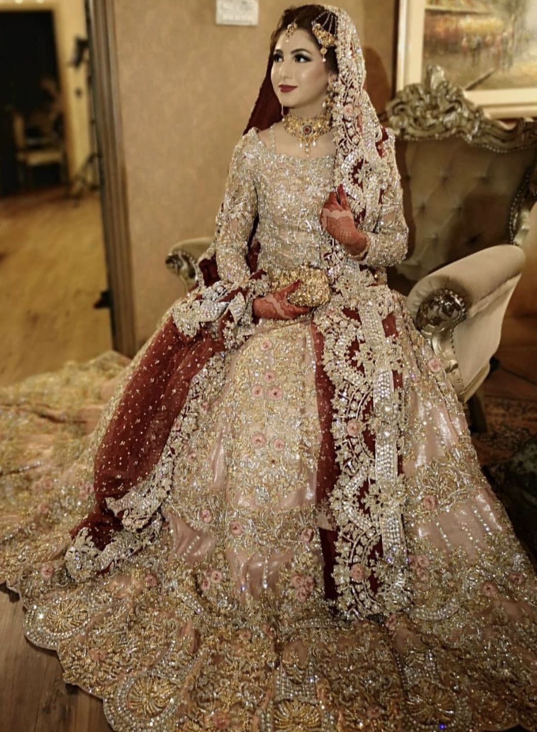 e63eb8976f #Reception /Valima bridal sharara/lahenga #beautiful 😍💓 attractive bridal  wedding outfit
