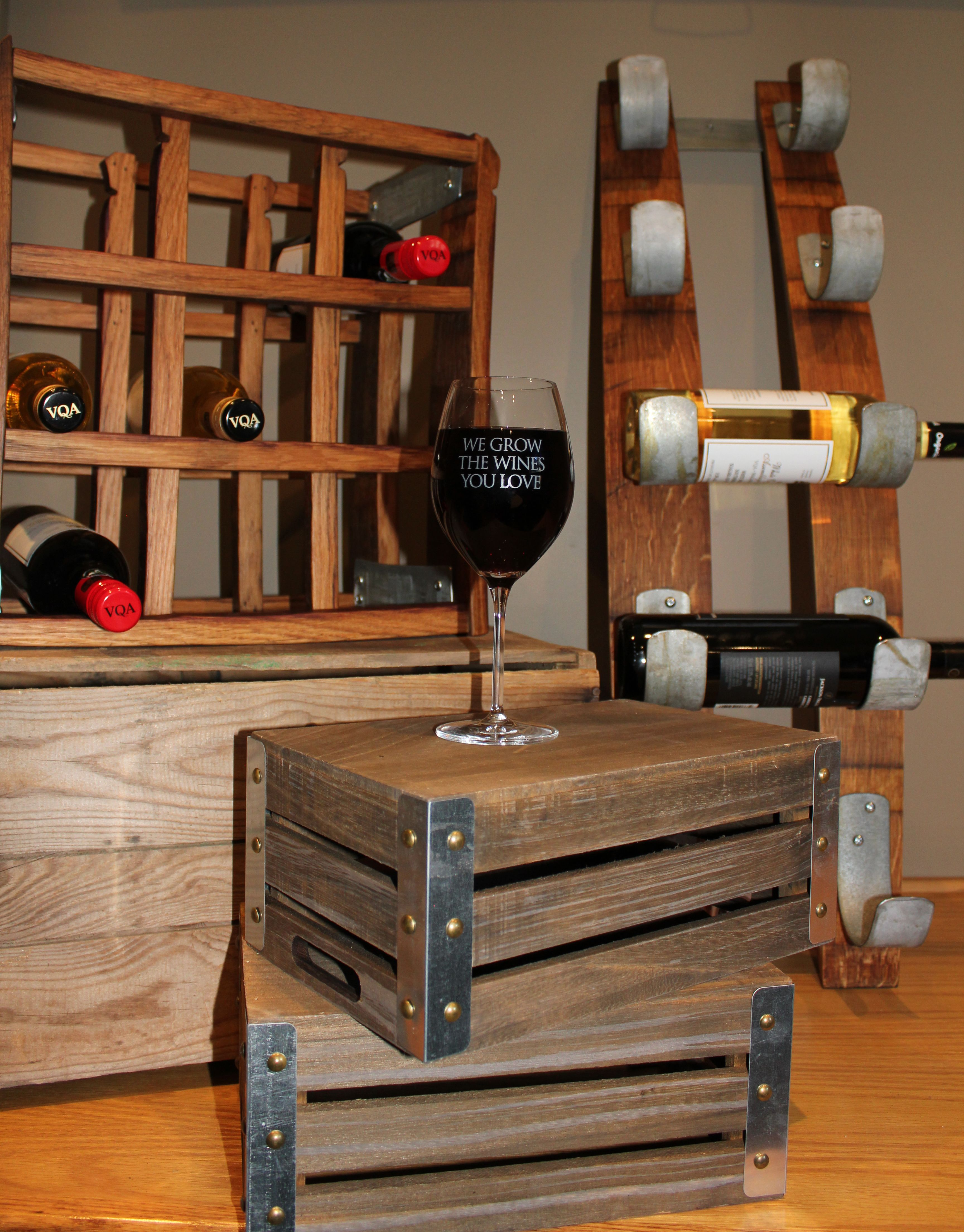 """""""We Grow the Wines You Love"""" contest prizes. Wine racks made from barrel staves in Thorold, ON and VQA wines of Ontario."""