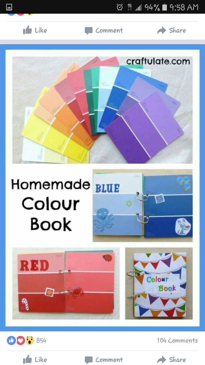 Learning your colors with this diy color book using paint sample ...