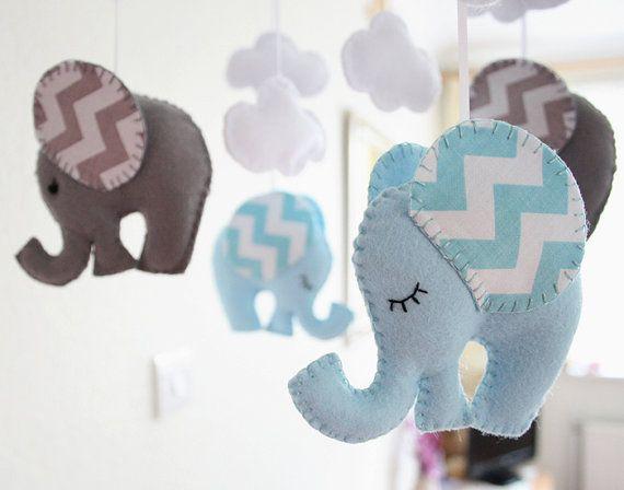 Nursery Mobile Baby Chevron blue/Grey Elephant by FlossyTots