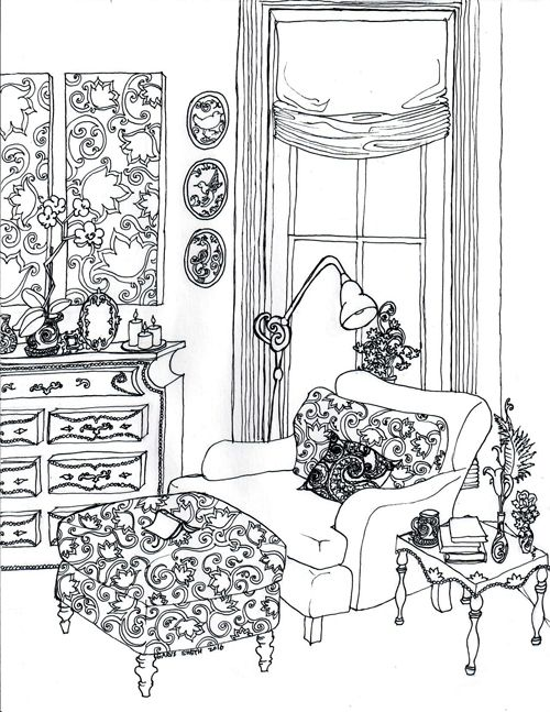 House Room Coloring Page: Color Your Best Life : Relaxing Rooms And Soothing Scenes