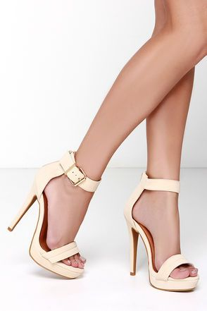 5a716f1d1ebe Pretty Nude Heels - Ankle Strap Heels - Dress Sandals -  36.00