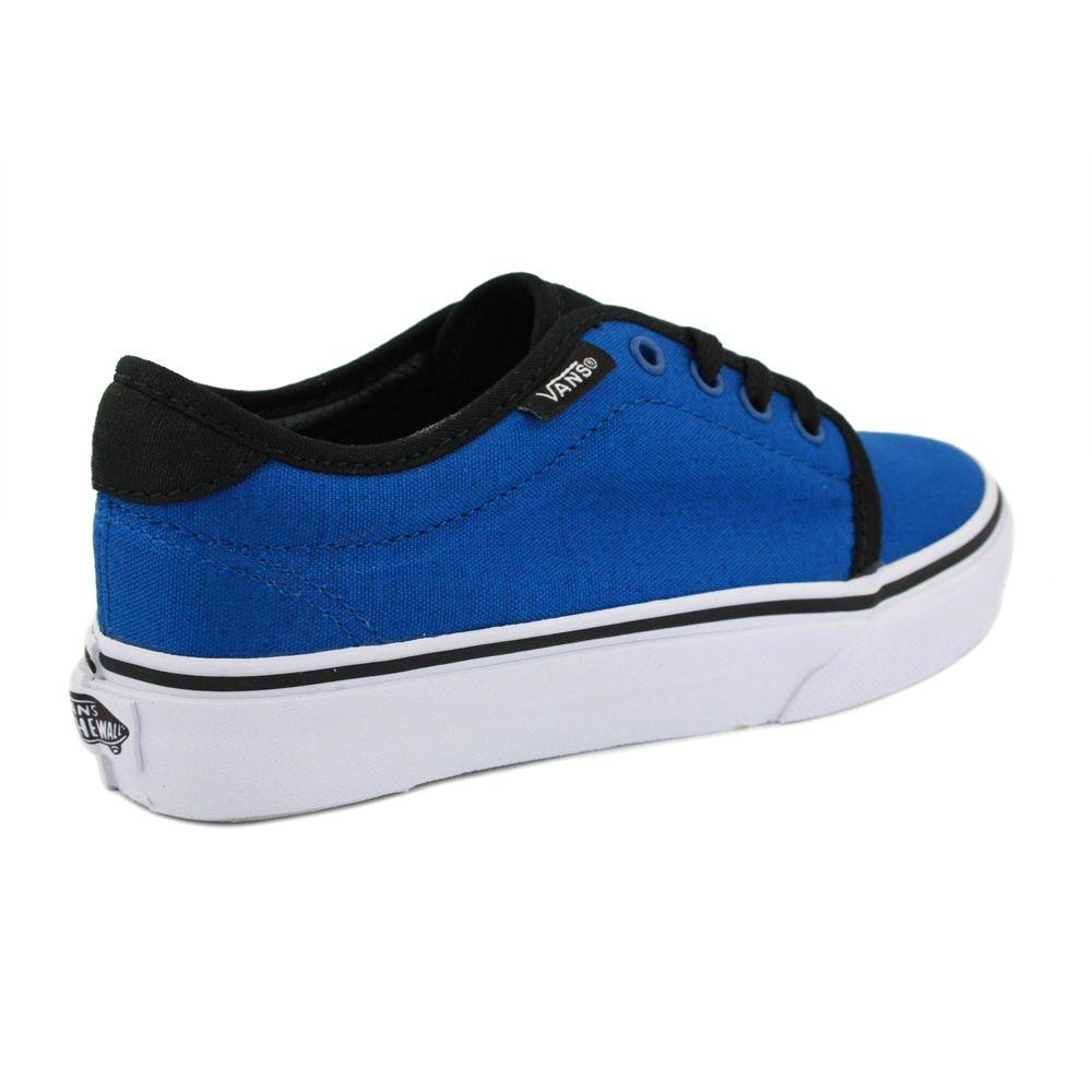 b7703a452f Vans 159 Vulcanized RQO6LW Kids Laced Canvas Trainers Blue Black