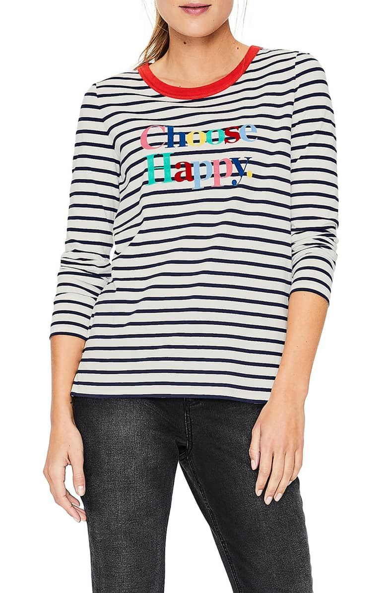 7ac816f79 Boden Choose Happy Breton Stripe Top | Nordstrom | GRAPHIC TEES in ...