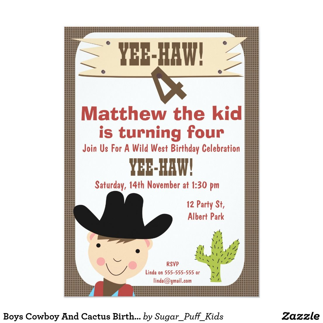 Boys Cowboy And Cactus Birthday Party Invitation This boy\'s western ...