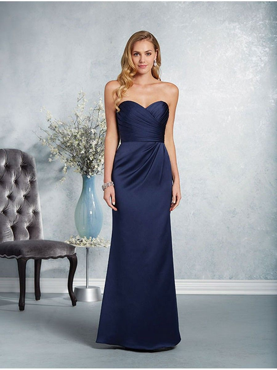 Long navy sweetheart bridesmaid dresses 906030 2017 bridesmaid shop the alfred angelo 7414 bridesmaid dress this satin sheath gown features a chic look with a strapless bodice sweetheart neckline and draped details ombrellifo Image collections