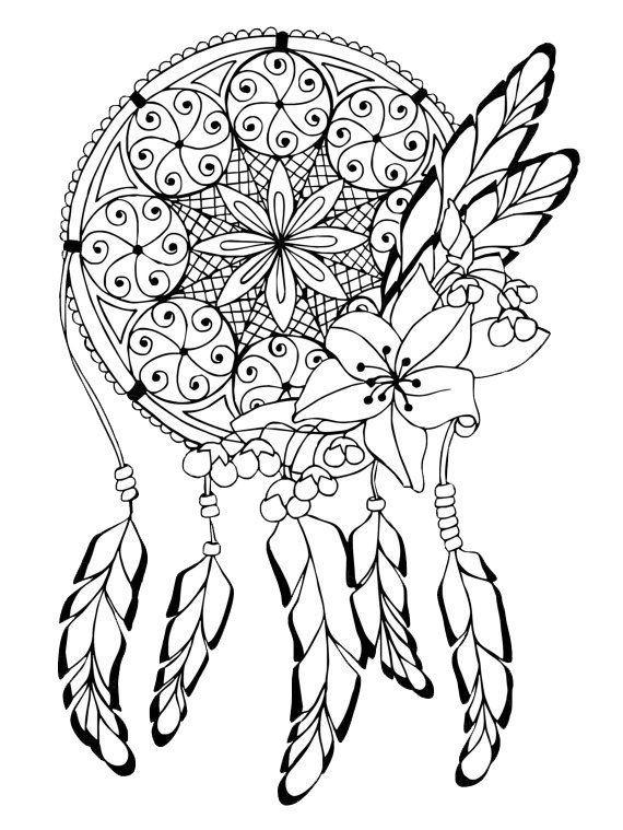 Adult Coloring Pages: Dreamcatcher 3 | Printables | Pinterest ...