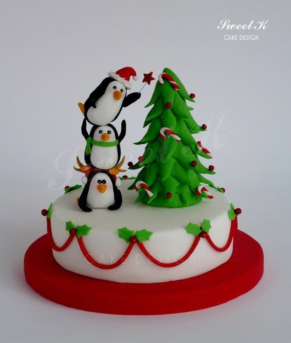 penguins of christmas by karla sweet k cakesdecorcom cake decorating website - Christmas Cake Decorations