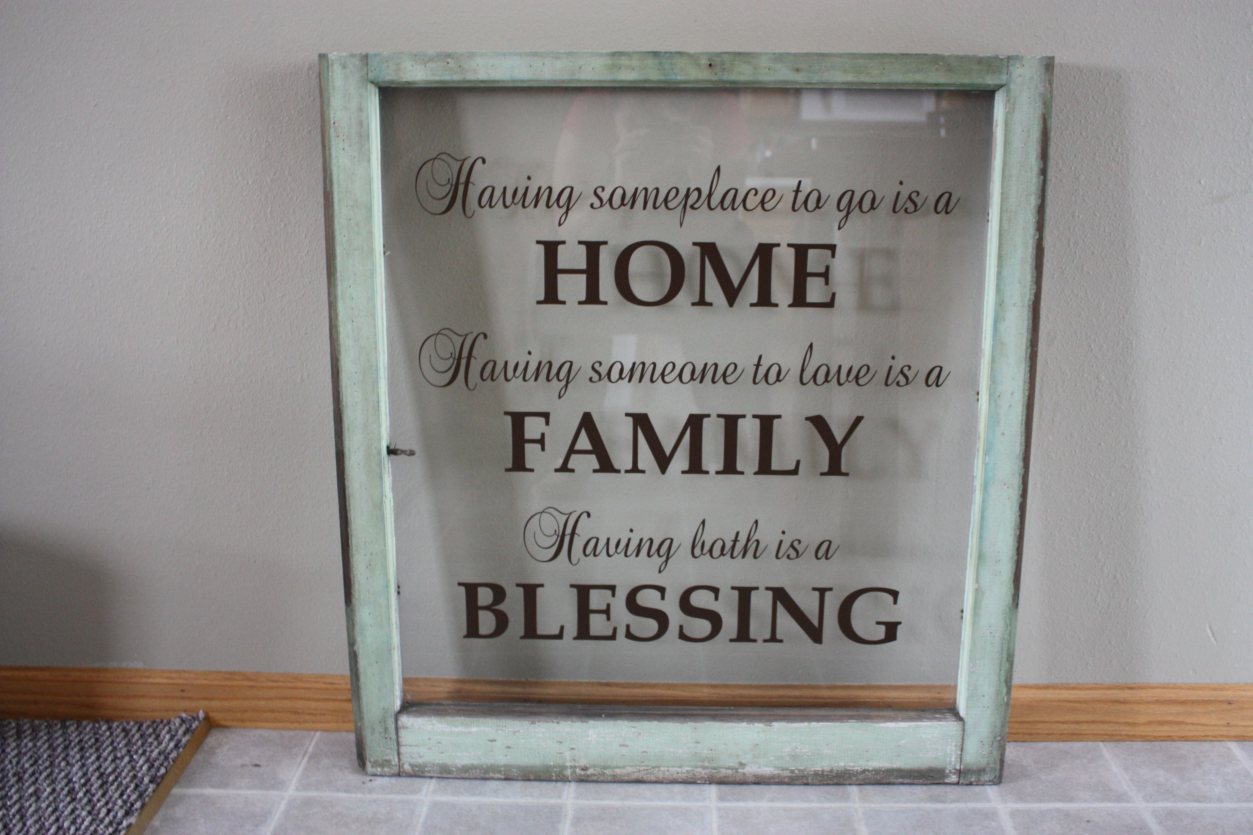 """Antique window with vinyl wall quote. 28""""x30"""" Antique"""