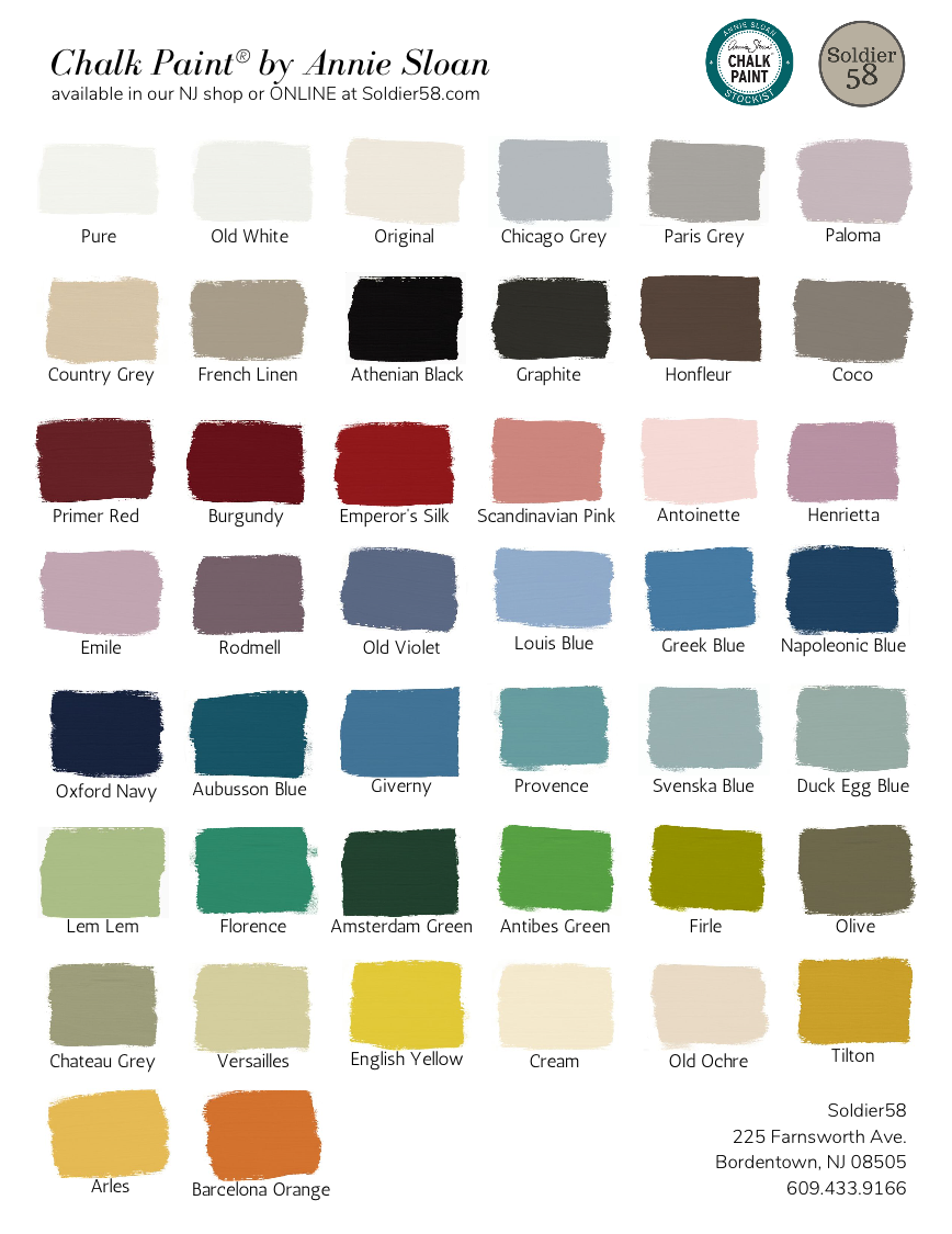 New Chalk Paint By Annie Sloan Color Card With All 44 Colors Incl Athenian Black Annie Sloan Colors Annie Sloan Paint Colors Annie Sloan Chalk Paint Colors