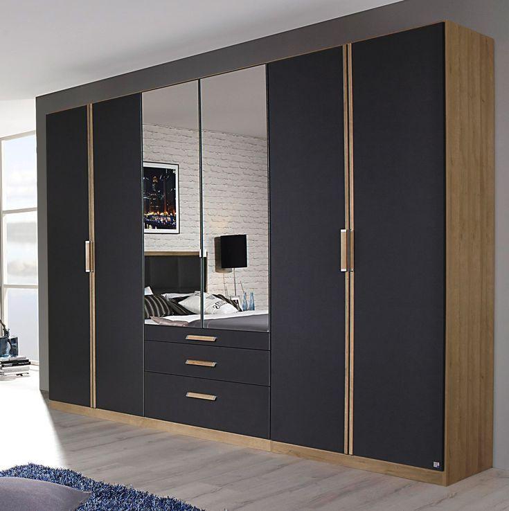 Armoire contemporaine 6 portes 271 cm chêne/anthracite ...