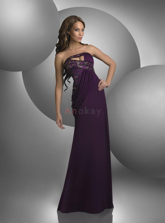 Elegant Lila Trägerlos Chiffon Abendkleider PJB1304186 ...