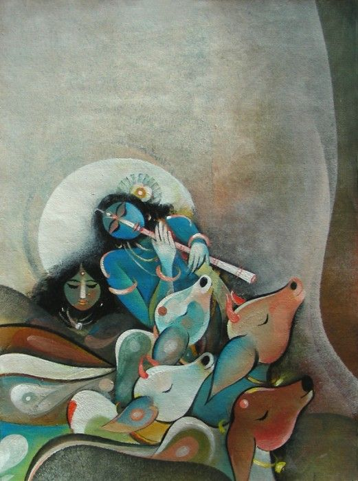 Krishna Painting from GalleryToday.org  This figurative painting is original and signed by Rajeev Kumar.