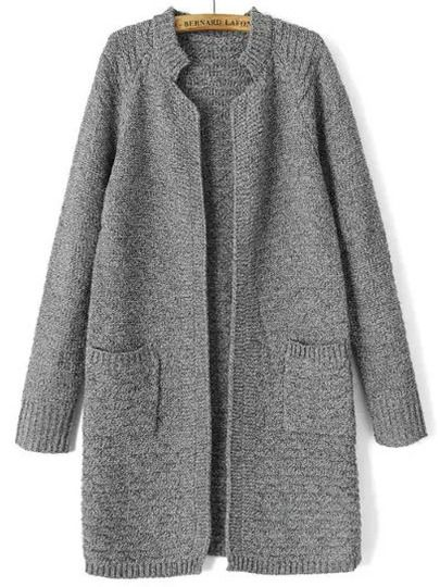 Grey Stand Collar Long Sleeve Knit Cardigan
