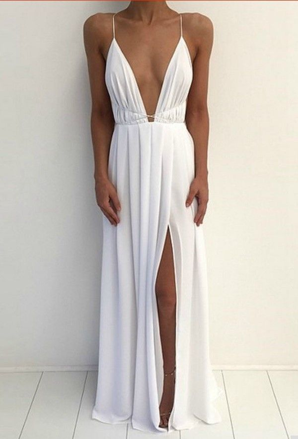 fadf8ac609498 Elegant Deep V Neck Maxi Dress in 2019 | Pretty Things ❤ | Prom ...