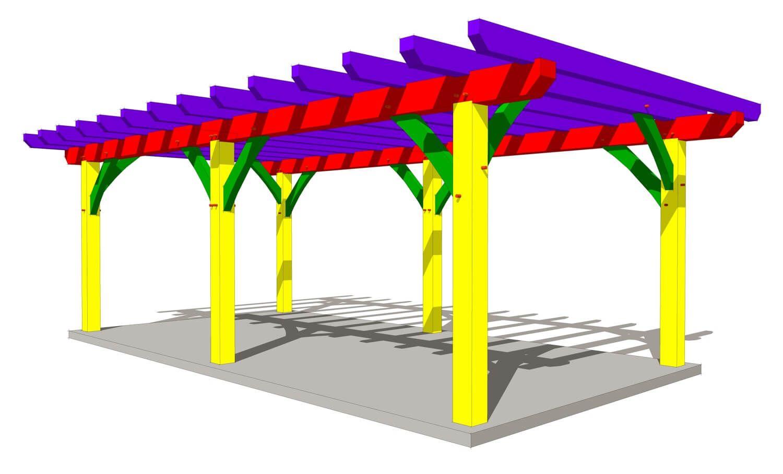 12x24 Timber Frame Pergola Plan Timber Frame Hq Timber Frame Pergola Plans Outdoor Pergola Pergola Plans