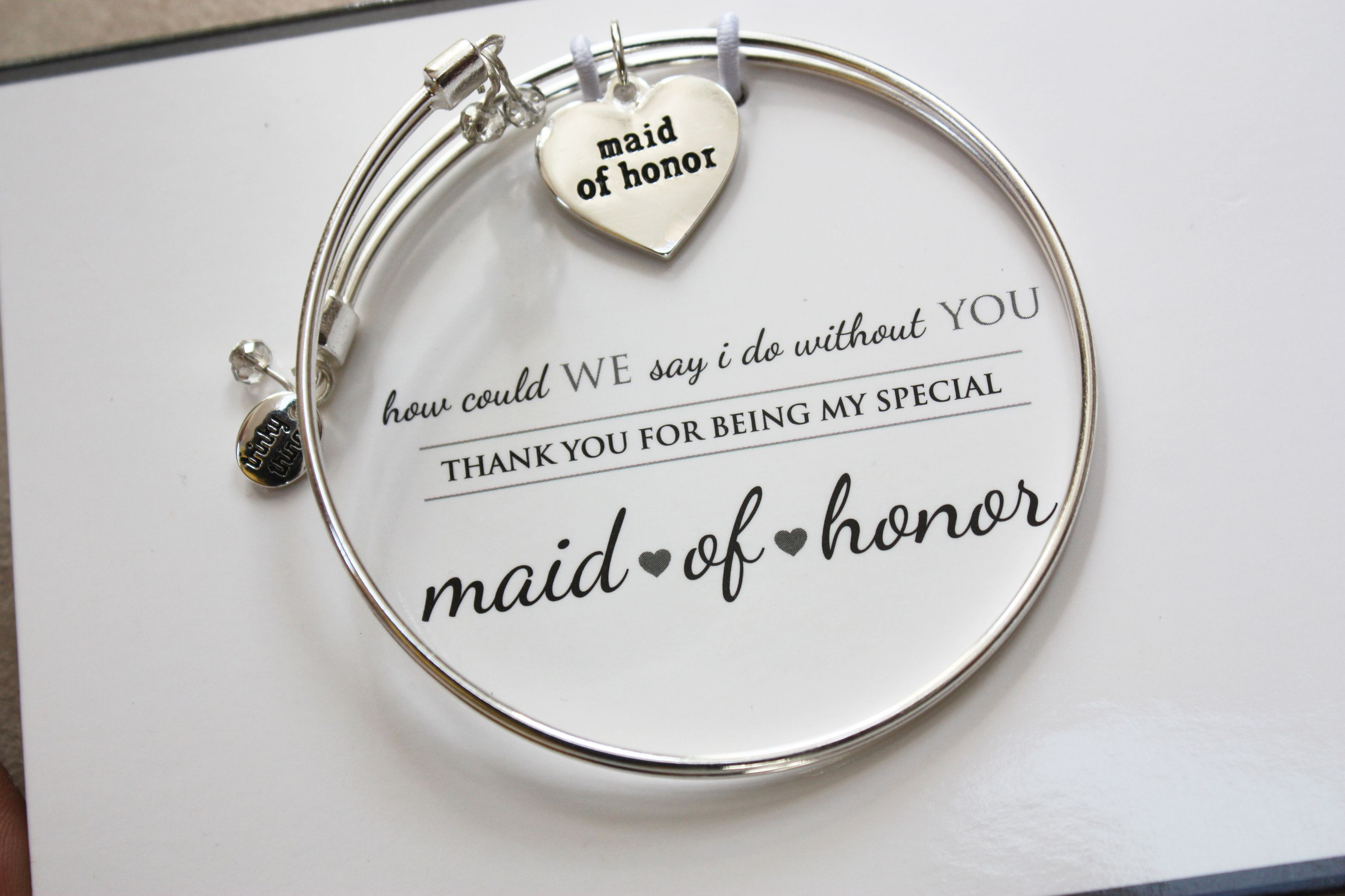 Maid of Honor - Meaningful Message Bracelet Set in Stainless Steel ...