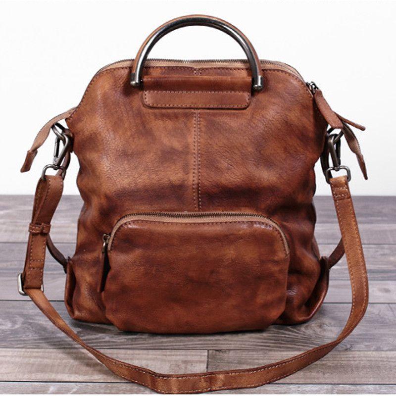 f52fce571e87 Handmade Women s Fashion Full Grain Leather Handbag Messenger School  Backpack in Purple WF57