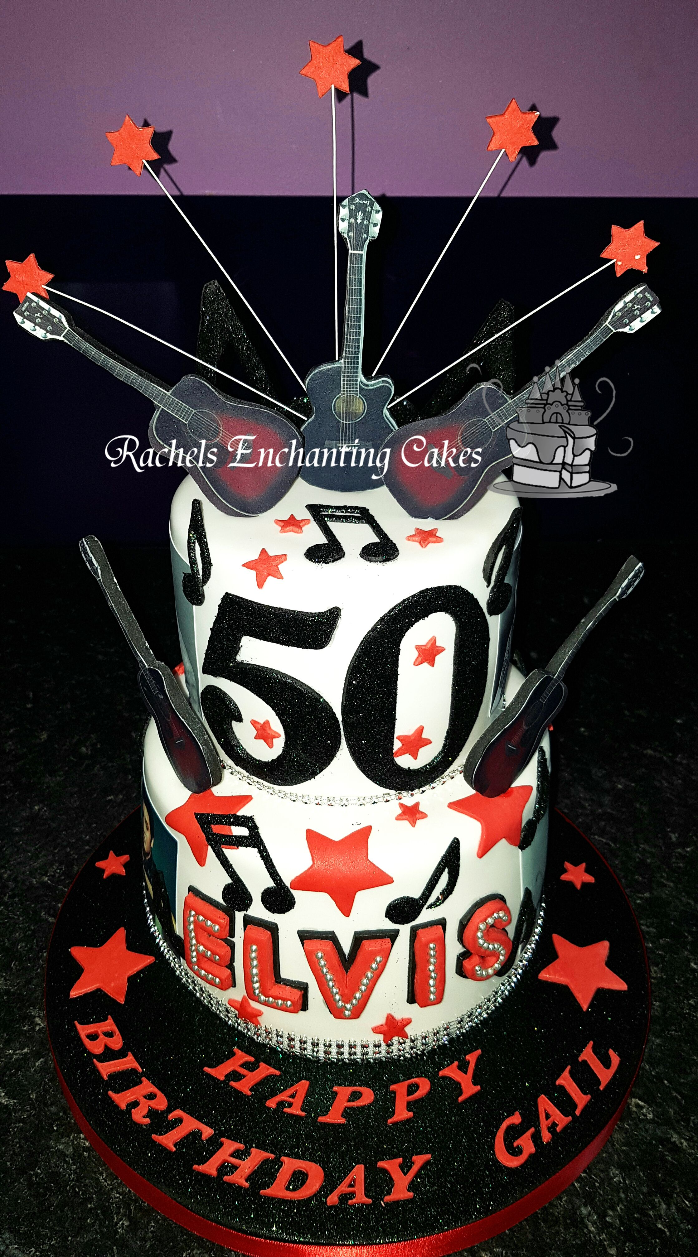 Two Tiered Elvis Presley Themed Birthday Cake By Rachels Enchanting