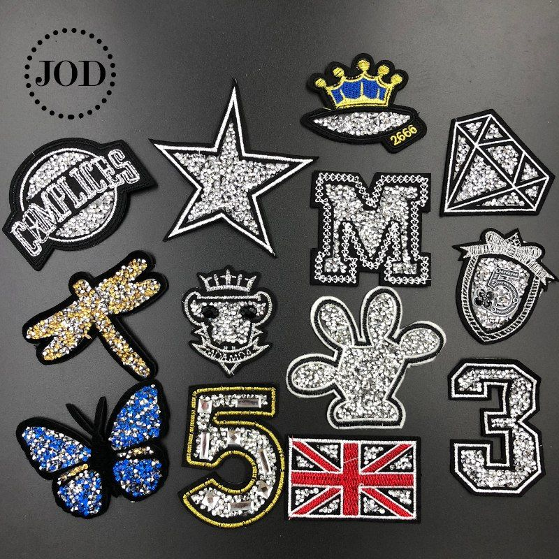 Hat Badge Rhinestone Patch Clothing Stickers Garment Applique Iron-on Patches