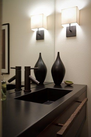 Black Concrete Counter Integral Square Sink Concrete Sinks Flying