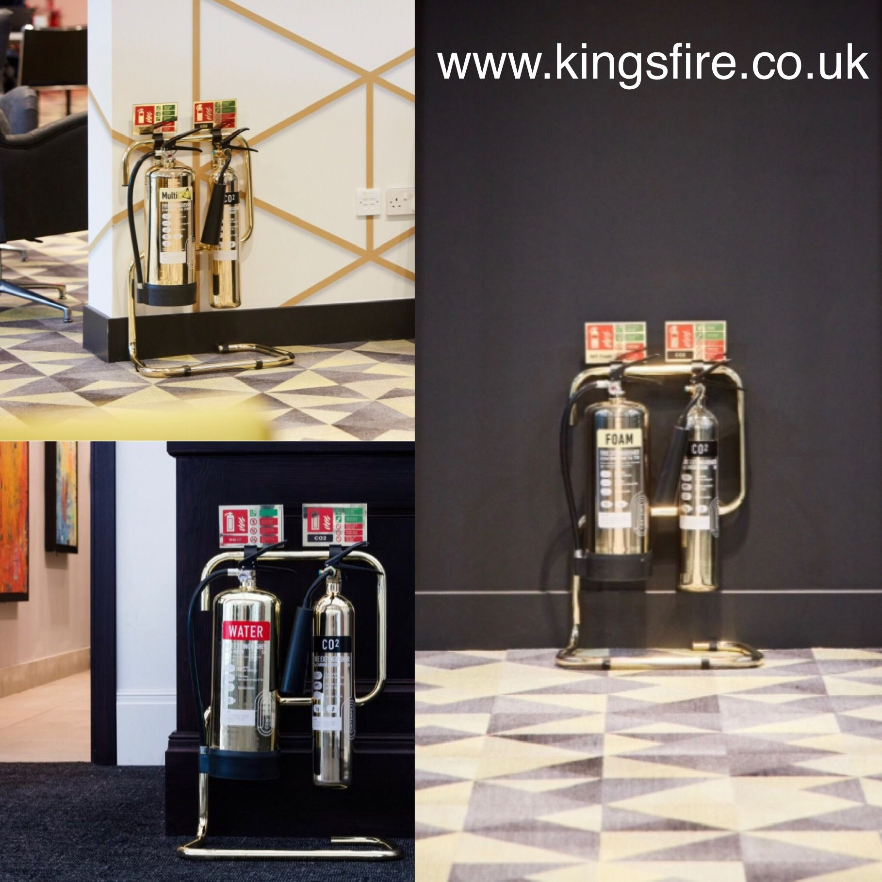 Look at these Polished Gold Fire Extinguishers, Stands