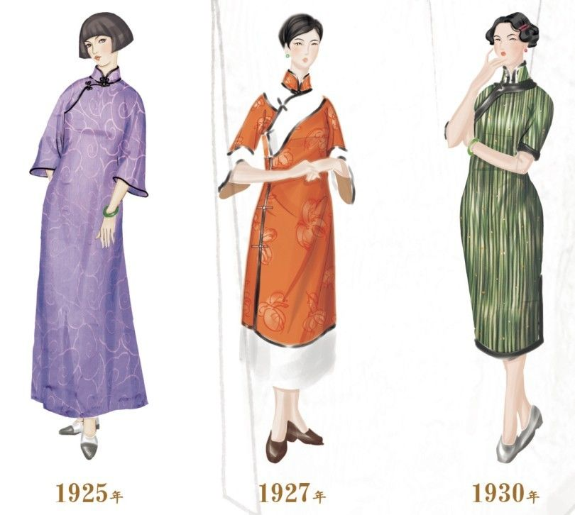 Interesting illustration of the changing shape of the Qipao between ...