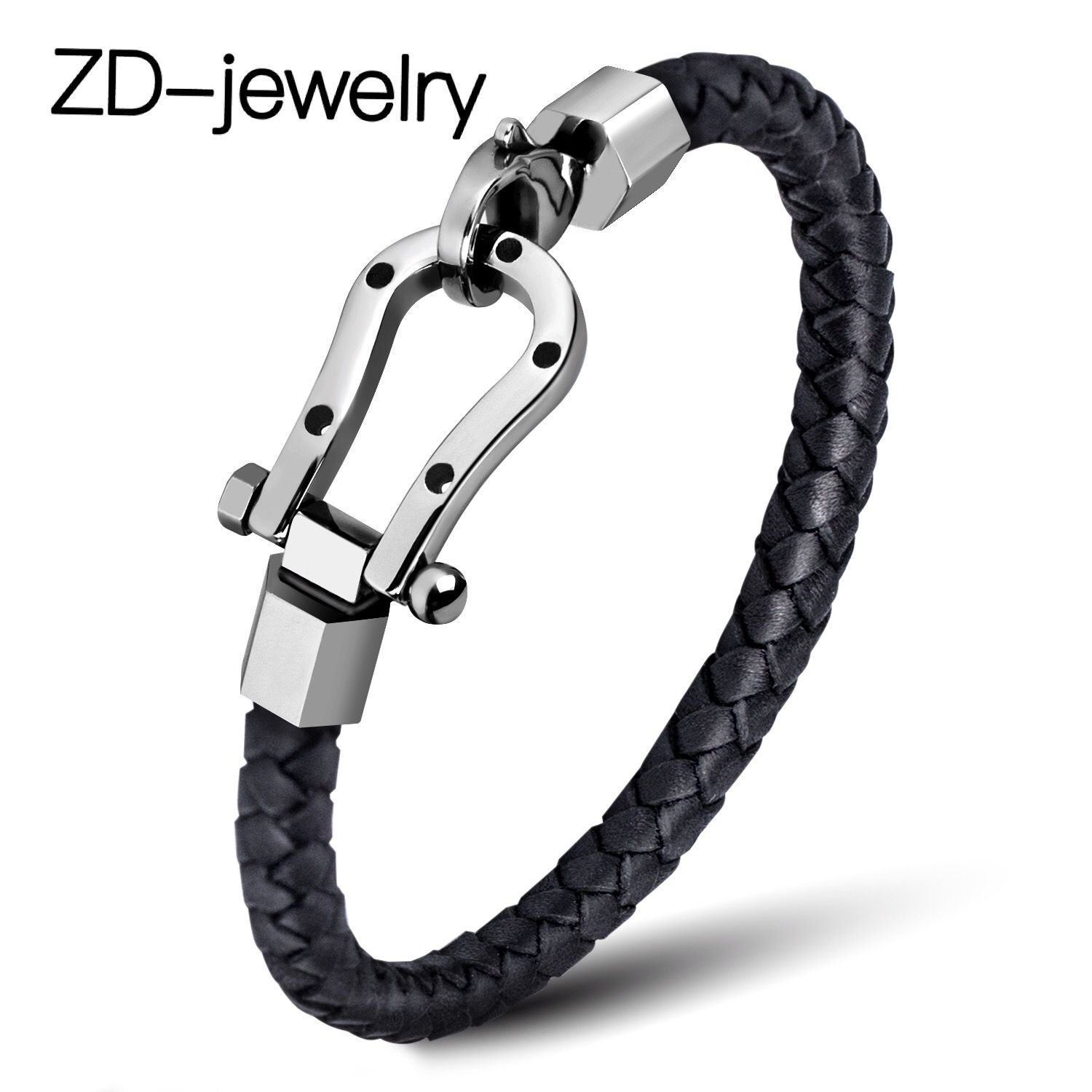 Mens Bracelets Leather Cowhide Braided