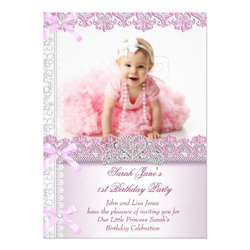First 1st Birthday Party Girls Princess Pink Photo Card Photo