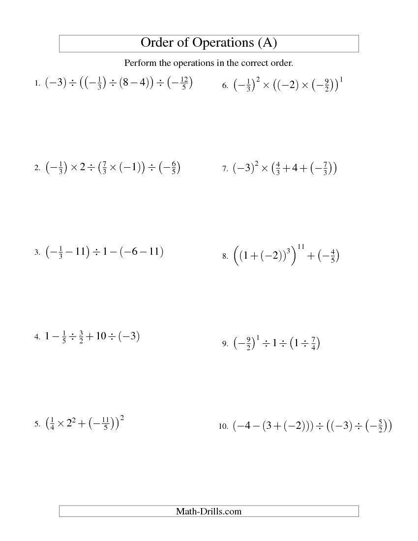 worksheet Orders Of Operations Worksheets order of operations with fractions four steps including negative a