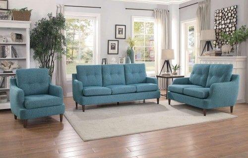 Best Armen Living Barrister Sofa In Blue Velvet With Crystal 400 x 300