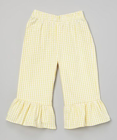 Loving this Yellow & White Seersucker Ruffle Capri Pants - Toddler & Girls on #zulily! #zulilyfinds