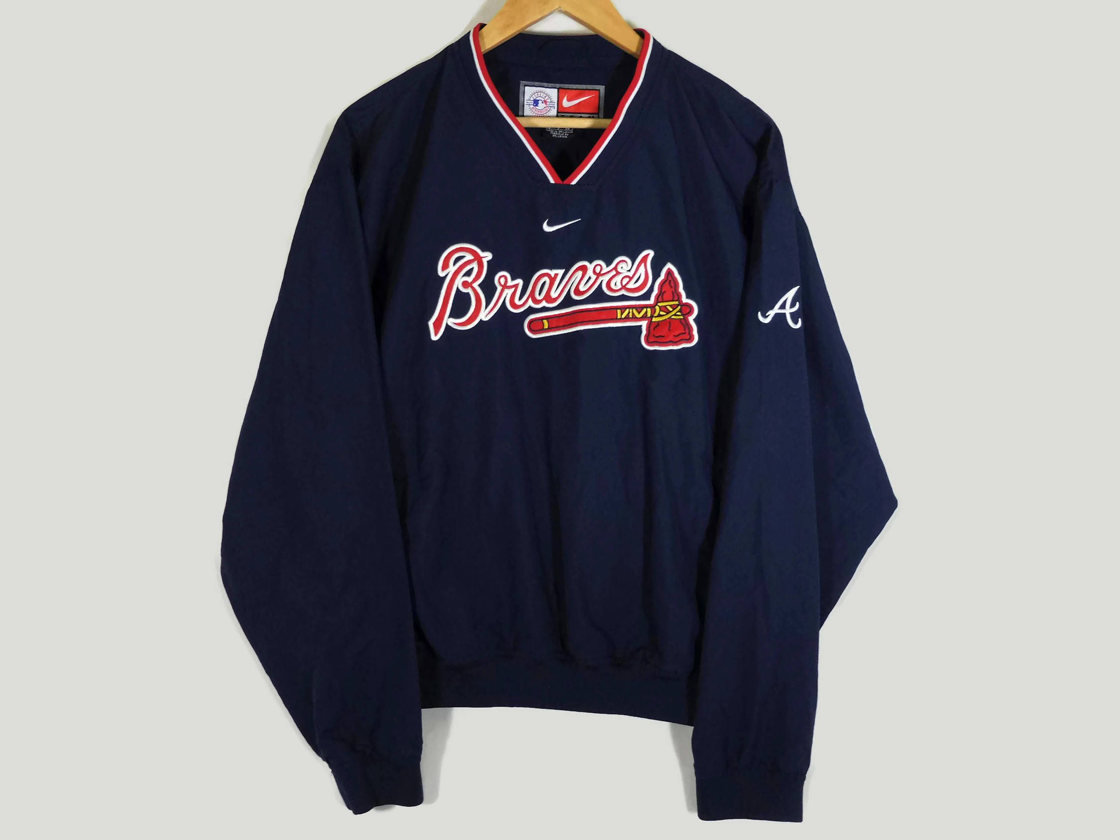 Vtg Nike Atlanta Braves Warm Up Jacket Small Atlanta Braves Windbreaker Braves Baseball Vintage Clothing Vintage Nike Vintage Outfits Atlanta Braves