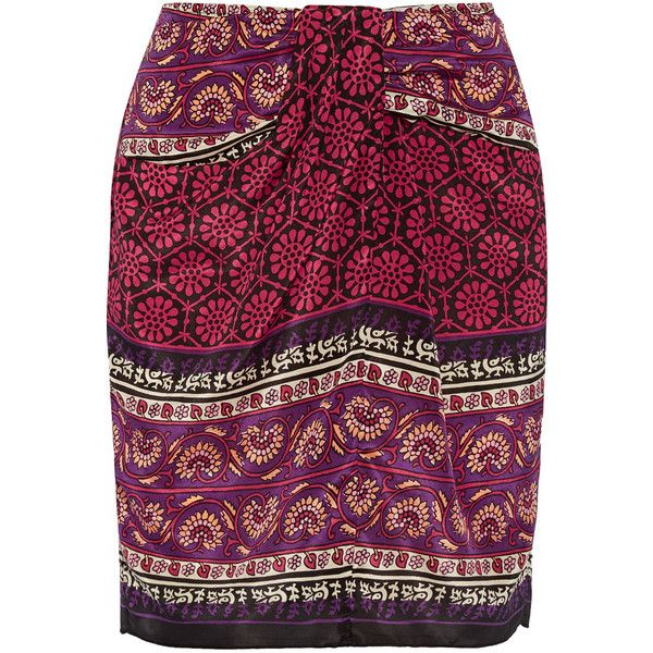 Anna Sui Printed silk and cotton-blend mini skirt (€365) ❤ liked on Polyvore featuring skirts, mini skirts, claret, silk mini skirt, short skirts, slip skirt, gathered skirt and shirred skirt