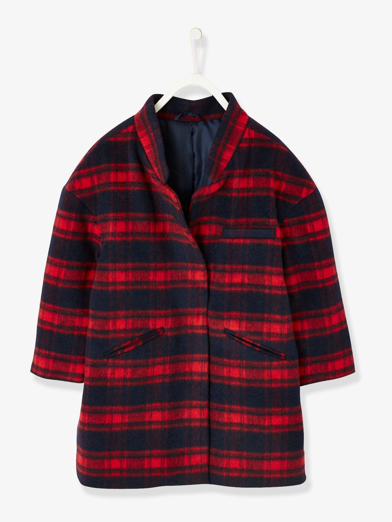 38b978bba683e Manteau fille en drap de laine carreaux rouge brique - Coupe oversize  tendance