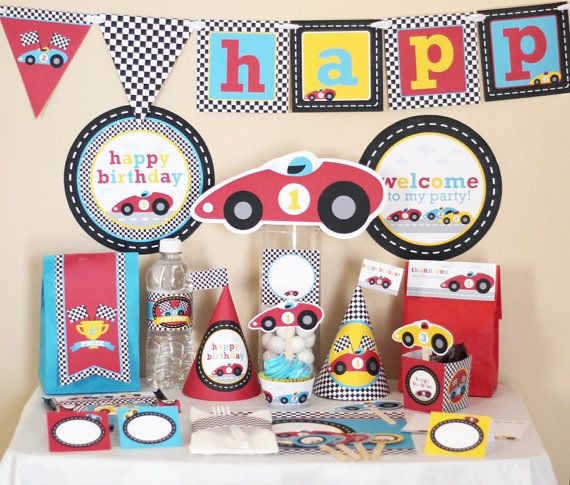 Red Race (Racing) Car Birthday Printable DIY Party Kit by Stockberry Studio