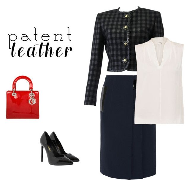 """""""Simply Patent Leather"""" by michaeladay on Polyvore featuring Versace, Christopher Kane, Christian Dior, Yves Saint Laurent and Elie Tahari"""