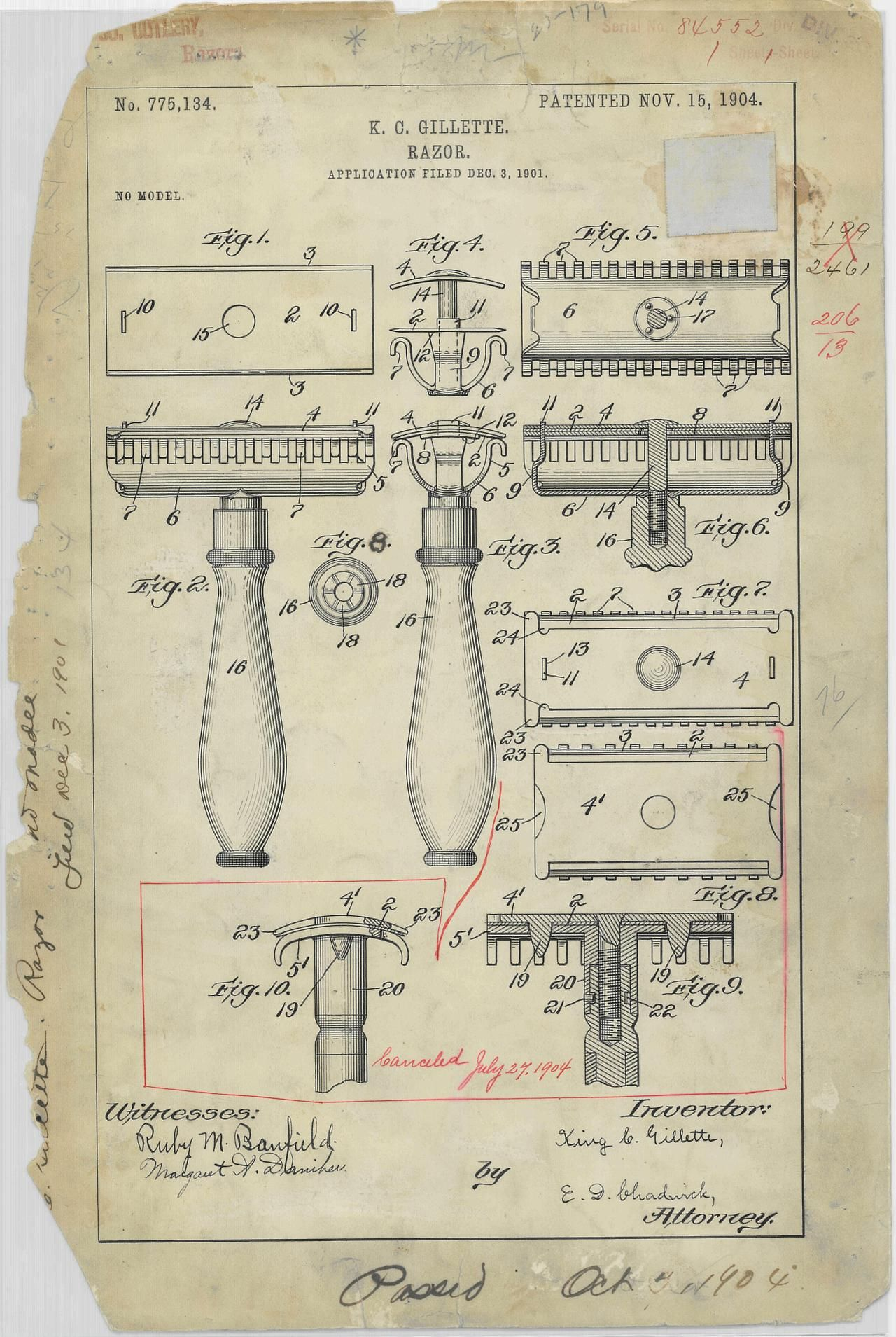Patent drawing for k c gillettes razor 11151904 information draw malvernweather Gallery
