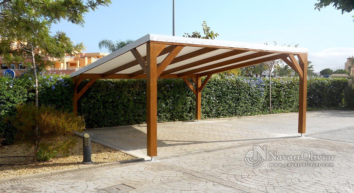 P rgola de sombraje para parking de 2 plazas estructura - Estructura madera laminada ...