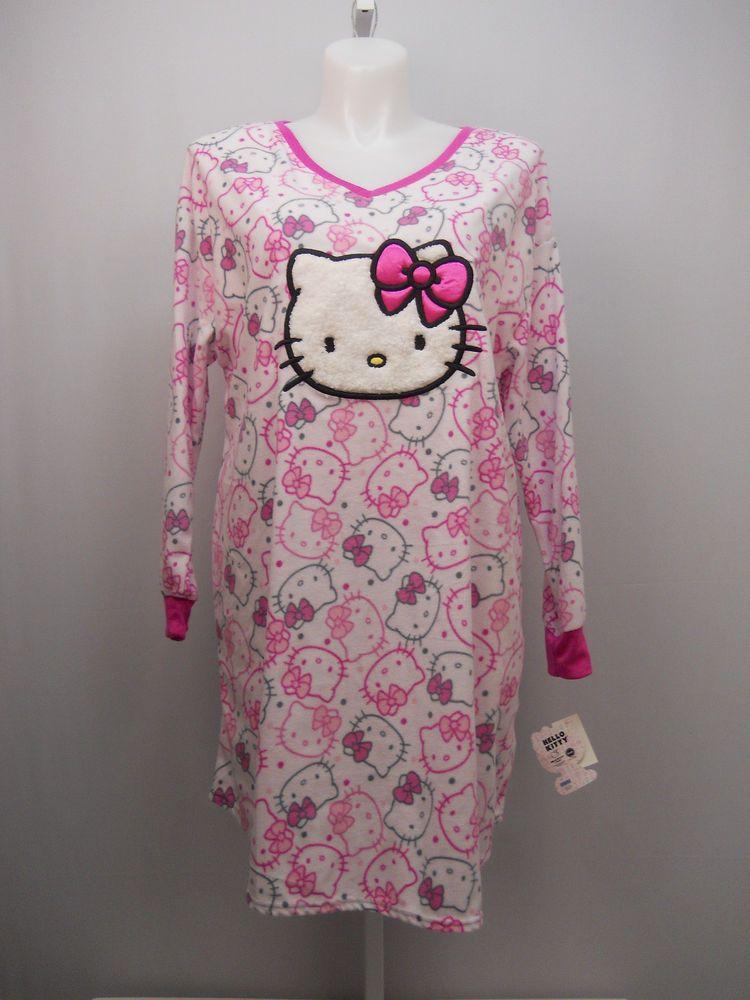 157f91cd3 PLUS SIZE 2X 3X Womens Fleece Sleep Shirt HELLO KITTY Long Sleeves V-Neck  Pullov #HelloKitty #Sleepshirt #Everyday