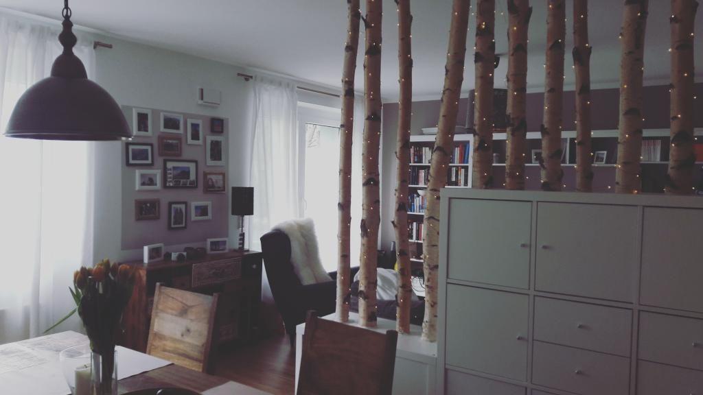 diy raumteiler aus birkenst mmen diy raumteiler birkenstaemme einrichtungsideen mit diy. Black Bedroom Furniture Sets. Home Design Ideas