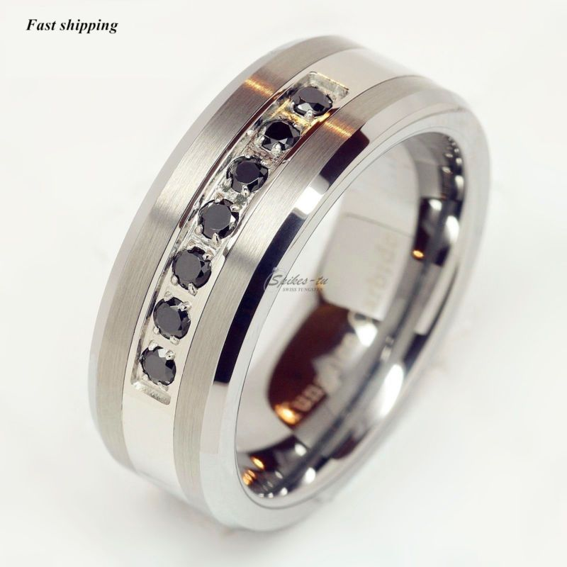 Luxury Best Tungsten Ring Black Diamonds Mens Wedding Band Brushed Size 6 13
