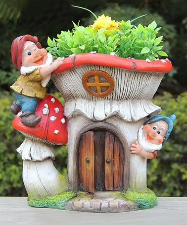 two gnomes red mushroom house flower pot planter - Gnome House S Design