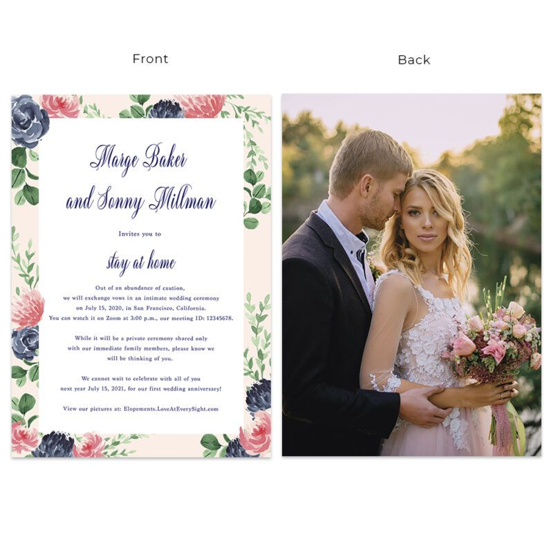 Custom Summer Intimate Wedding Elopement And Change Of Plans Announcement Cards Stay At Home 580 In 2020 Wedding Announcement Cards Wedding Announcements Intimate Wedding