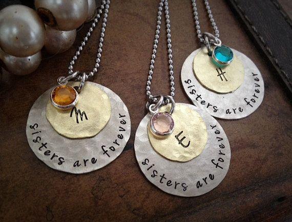 custom sisters necklaces christmas gift by simplyyoursbydesign regalos de navidad corazones regalos de la